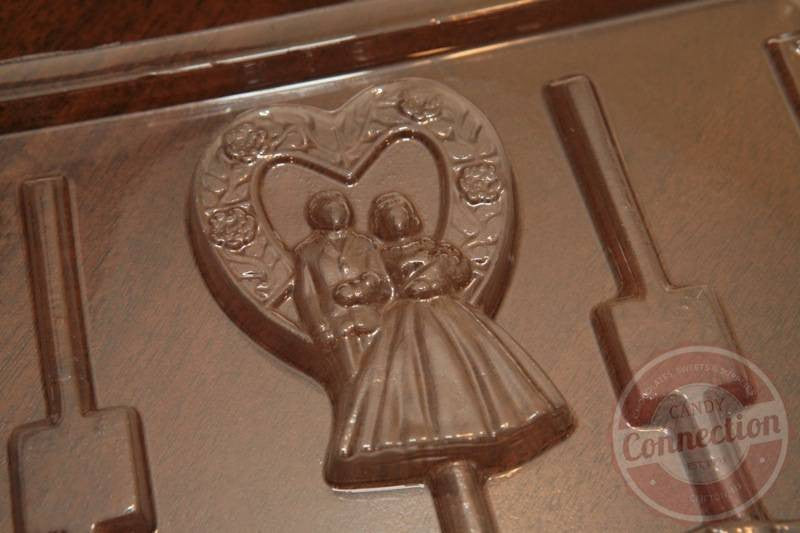 Bride & Groom in a Heart Lollipop Mold