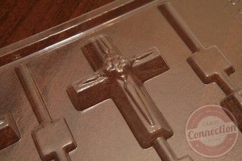 Large Cross with Flower Lollipop Mold