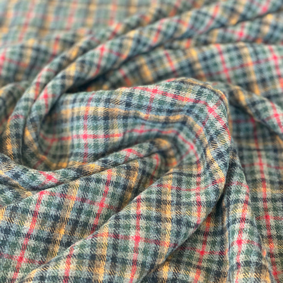Checked multicolour wool flannel