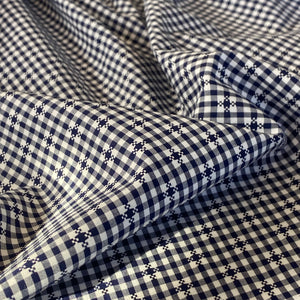 Navy checked cotton
