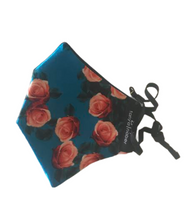 Load image into Gallery viewer, Blue floral silk mask