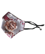 Load image into Gallery viewer, Pink floral silk mask