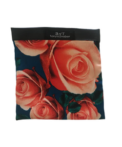 Blue floral silk mask pouch