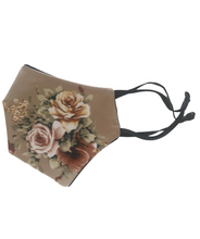 Load image into Gallery viewer, Beige floral silk mask