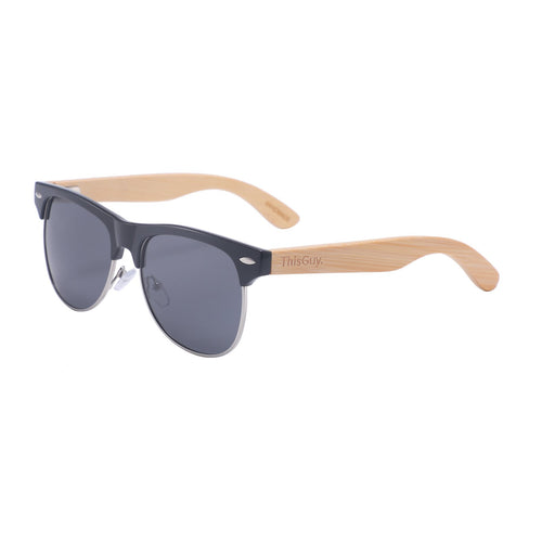 Bamboo Clubmaster-Style Sunglasses (Black)