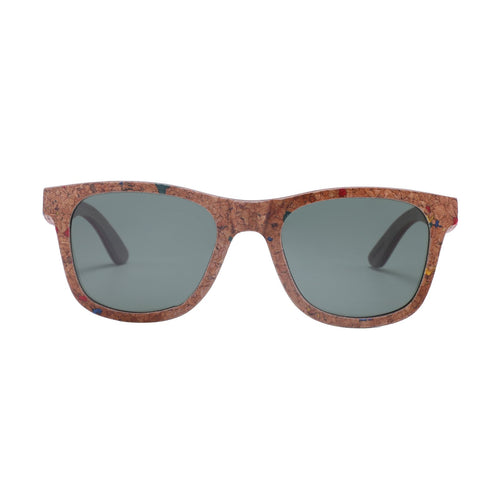 Colour Specked Cork Wayfarer-Style Sunnies (Grey Smoked Lens)