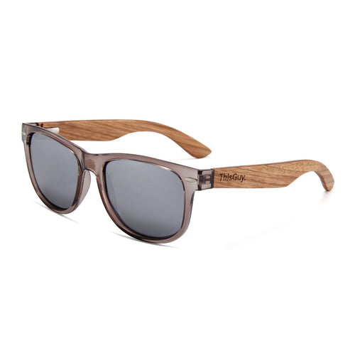 Zebra Wood Wayfarer-Style Sunglasses (Grey with Silver REVO Lens)