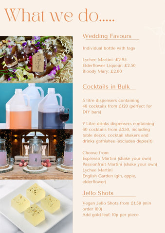 More Wedding Favours and cocktails in bulk