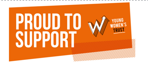 The Young Women's Trust logo and banner is shown in bright orange
