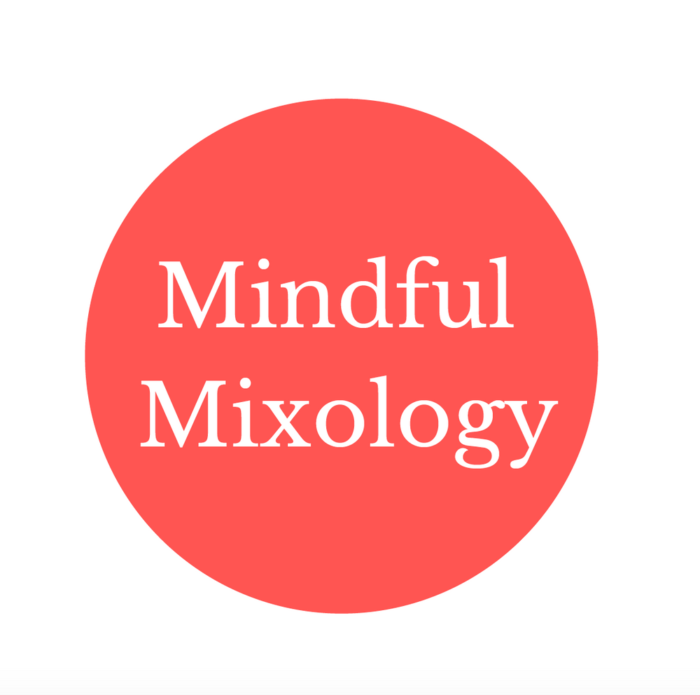The Mindful Mixology logo, in white text shown on a vivid red/pink circle