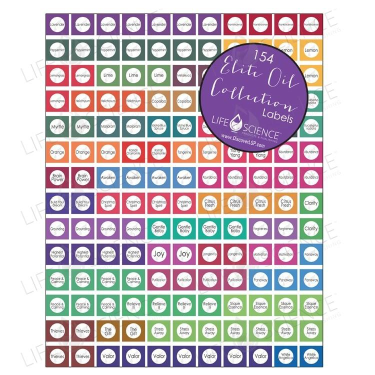 Elite Oils Collection Bottle Cap Stickers (154 Stickers) Premium - Discover Health & Lifestyle Asia