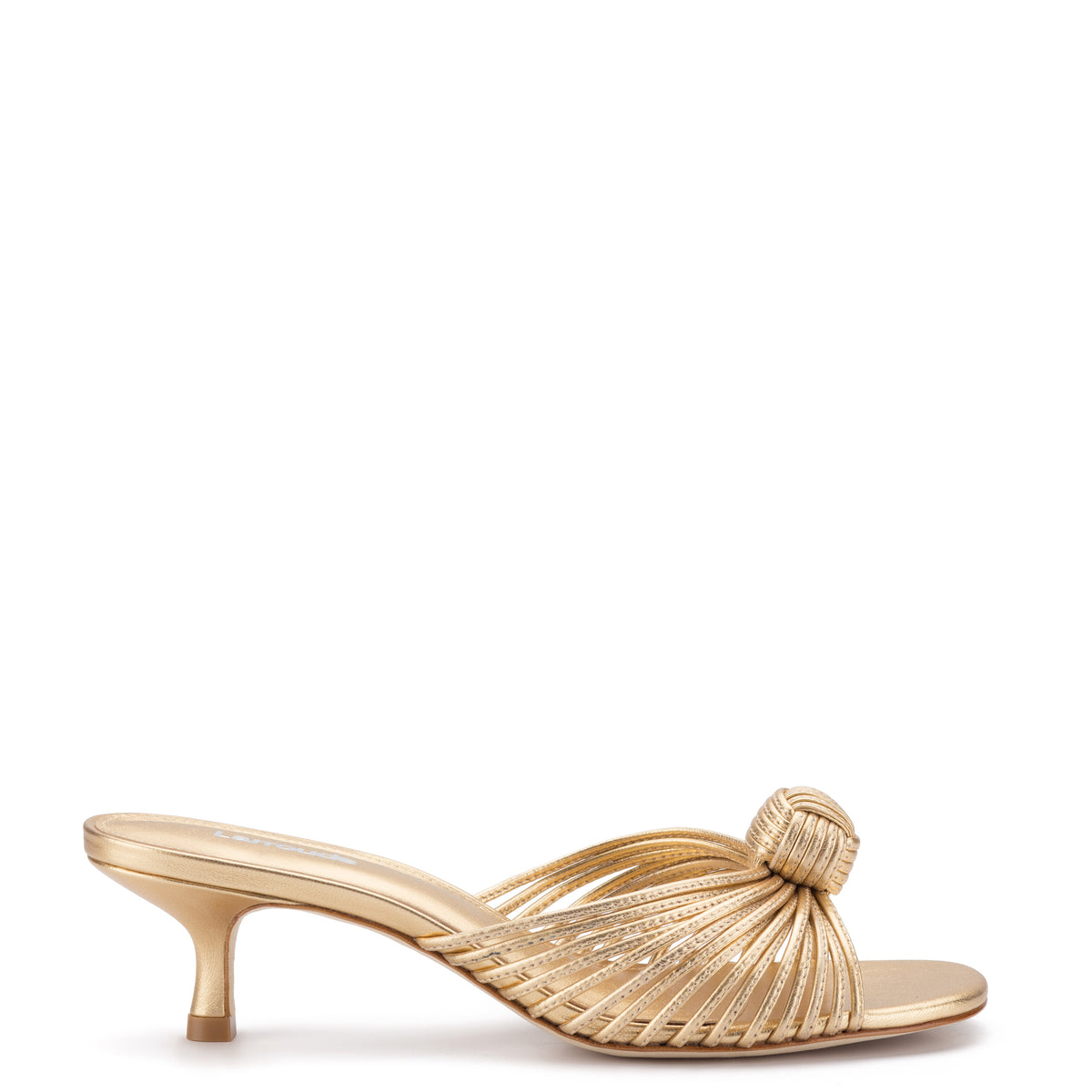 Valerie Mule In Gold Metallic Leather