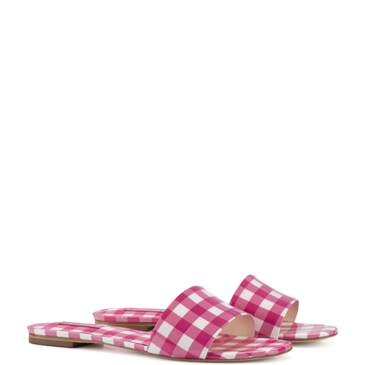 Ivy Flat Mule In Fuchsia Plaid Patent Leather