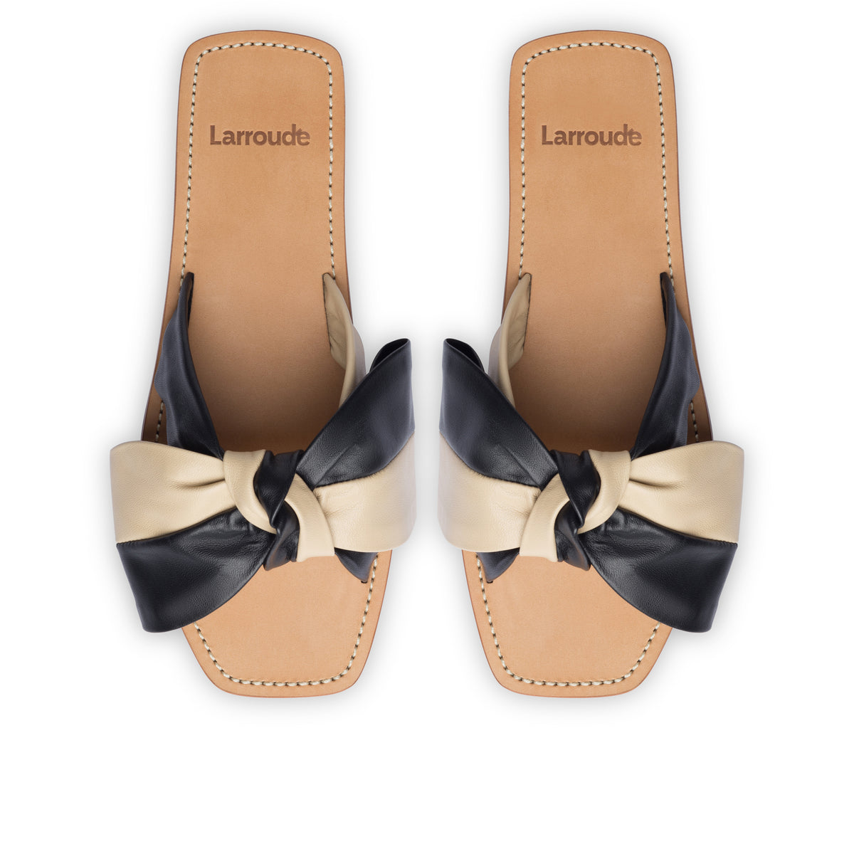Eloise Flat Mule In Black and Beige Leather