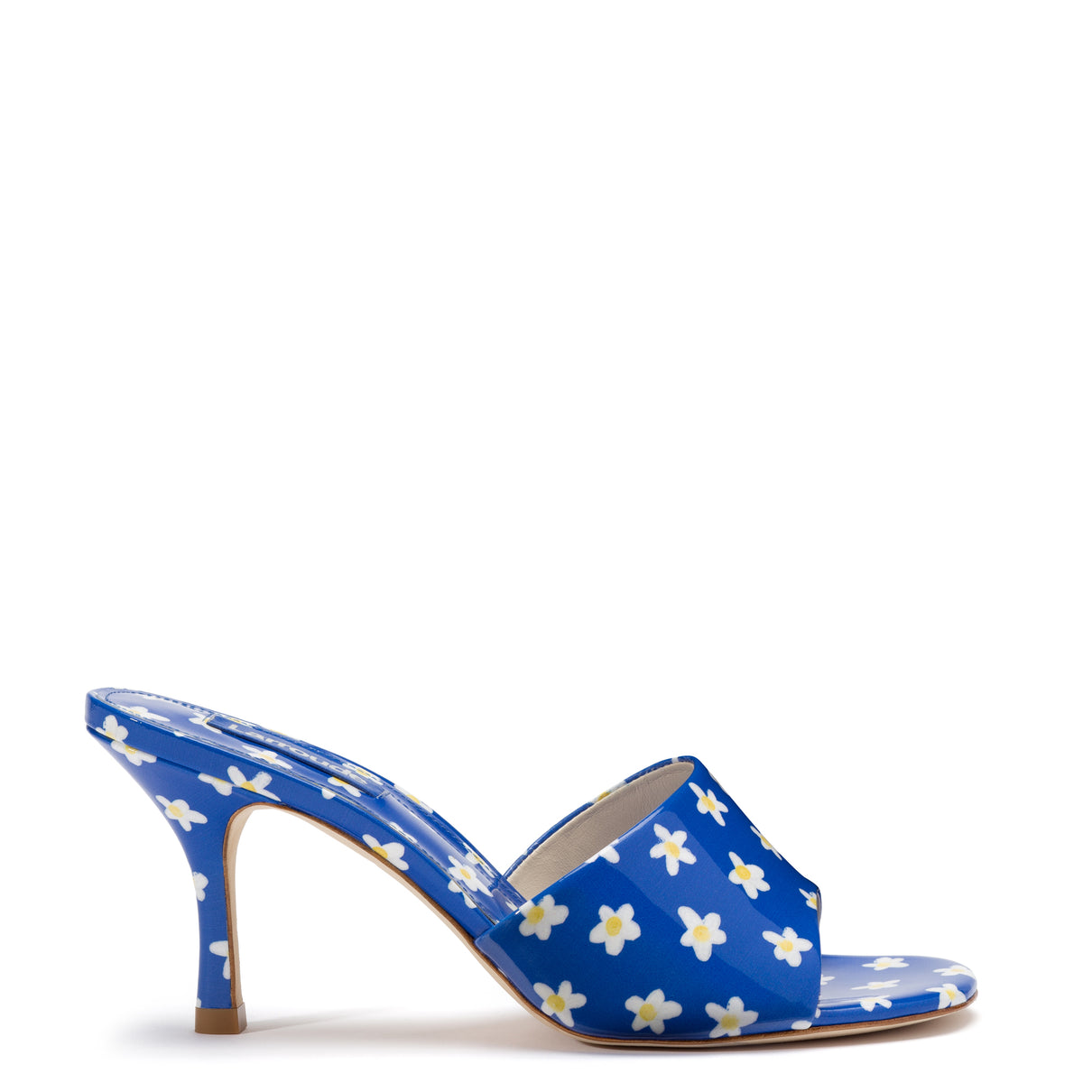 Colette Mule In Blue Floral Patent Leather