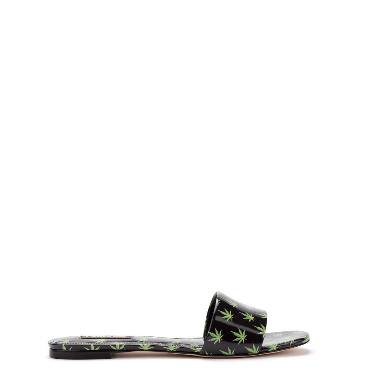 Ivy Flat Mule In Black Leaf Patent Leather
