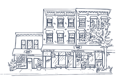 Greene Grape Fort Greene Brooklyn storefront illustration
