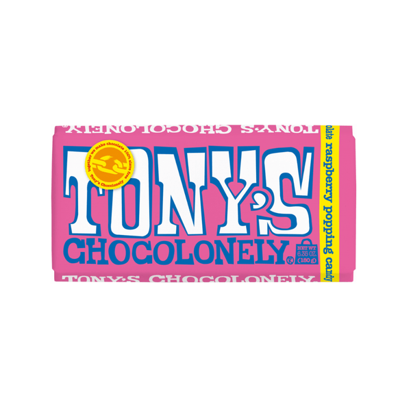 Tony's Chocolonely White Chocolate Raspberry Popping Candy 6.35oz. bar