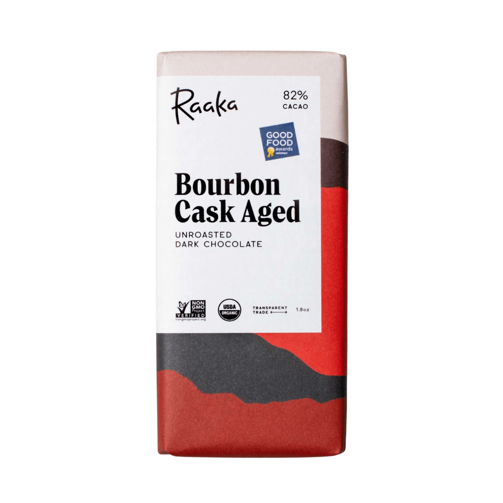 Raaka Bourbon Cask Aged Unroasted Dark Chocolate 1.8oz. bar
