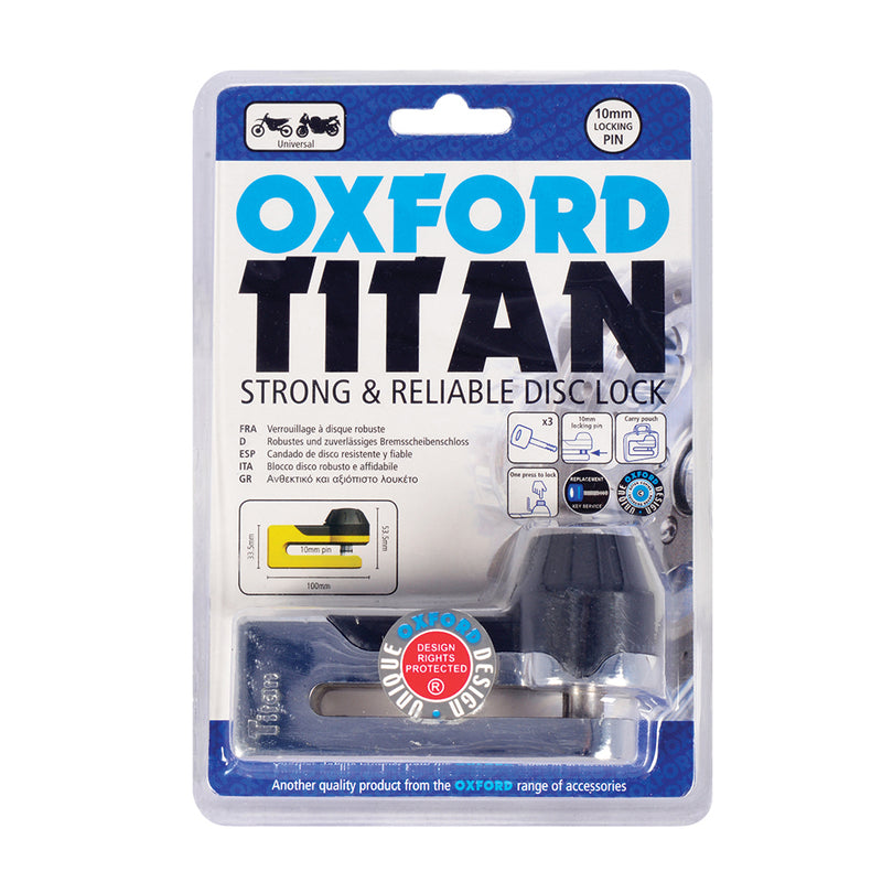 Oxford Titan Chrome Disc-Lock & Pouch
