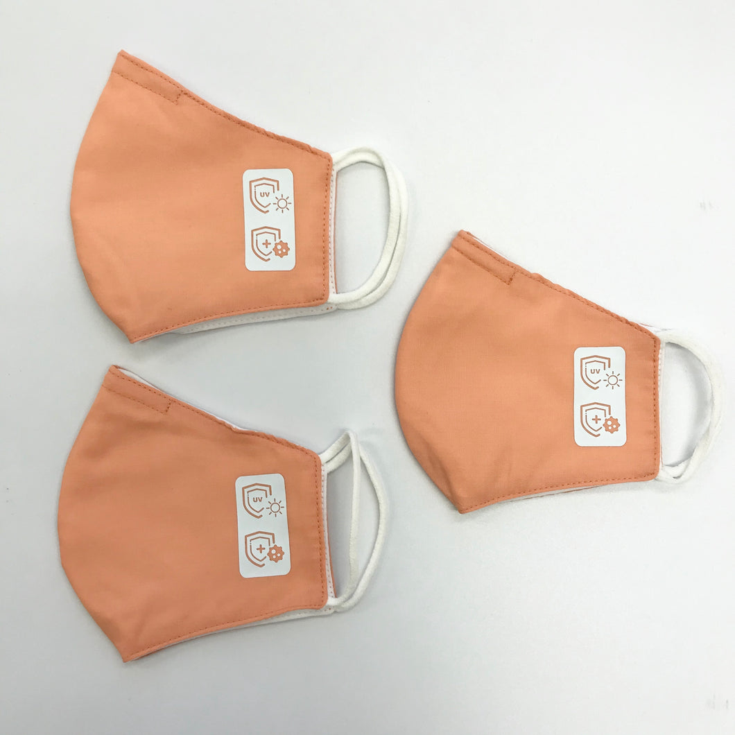 Reusable face mask - water repellent material 3 pack - ORANGE KIDS SIZE