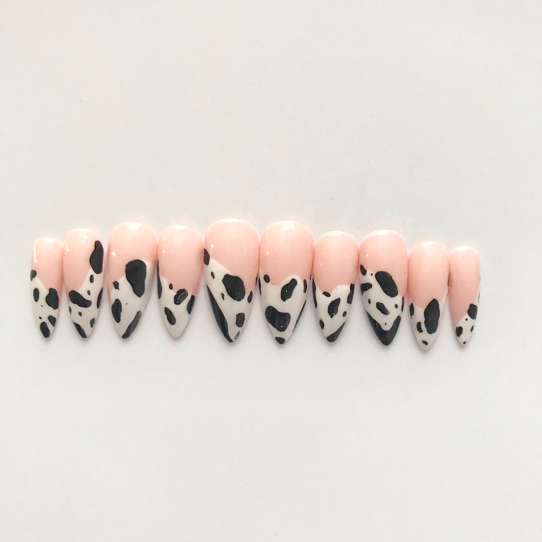Press on Nails with prep kit - Cow Print