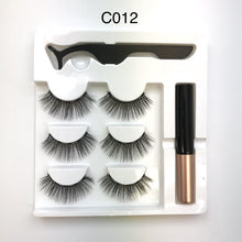 Load image into Gallery viewer, Magnetic Strip Lashes Silk 3 pairs with Magnetic Eyeliner and Applicator Tweezers