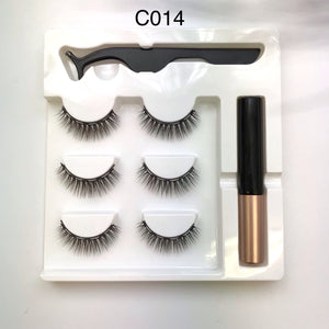 Magnetic Strip Lashes Silk 3 pairs with Magnetic Eyeliner and Applicator Tweezers