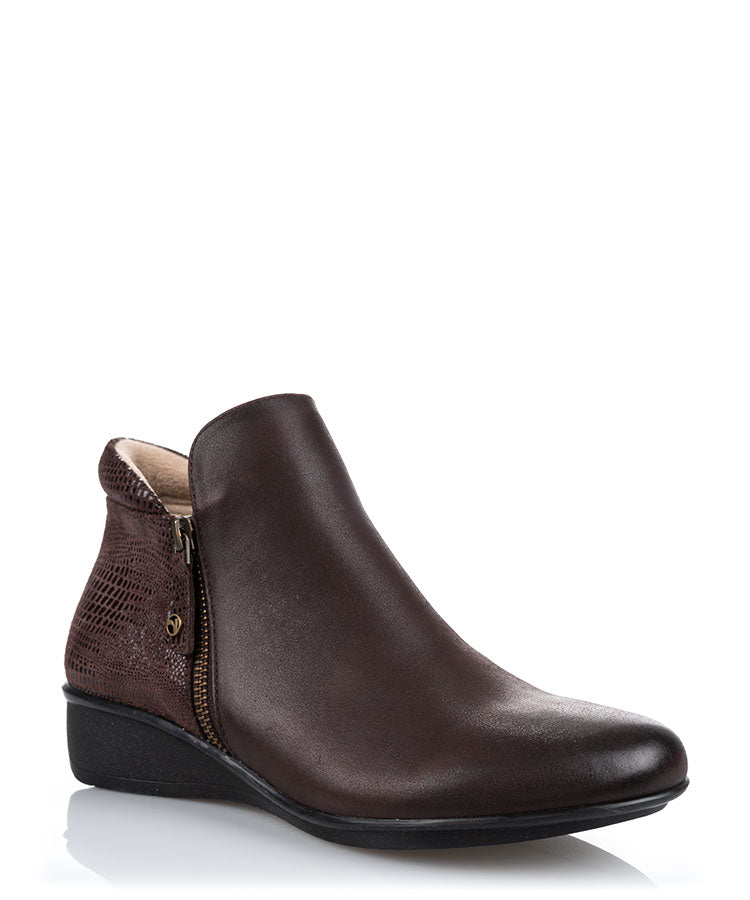 Damascus Espresso French Lizard Leather Ankle Boot
