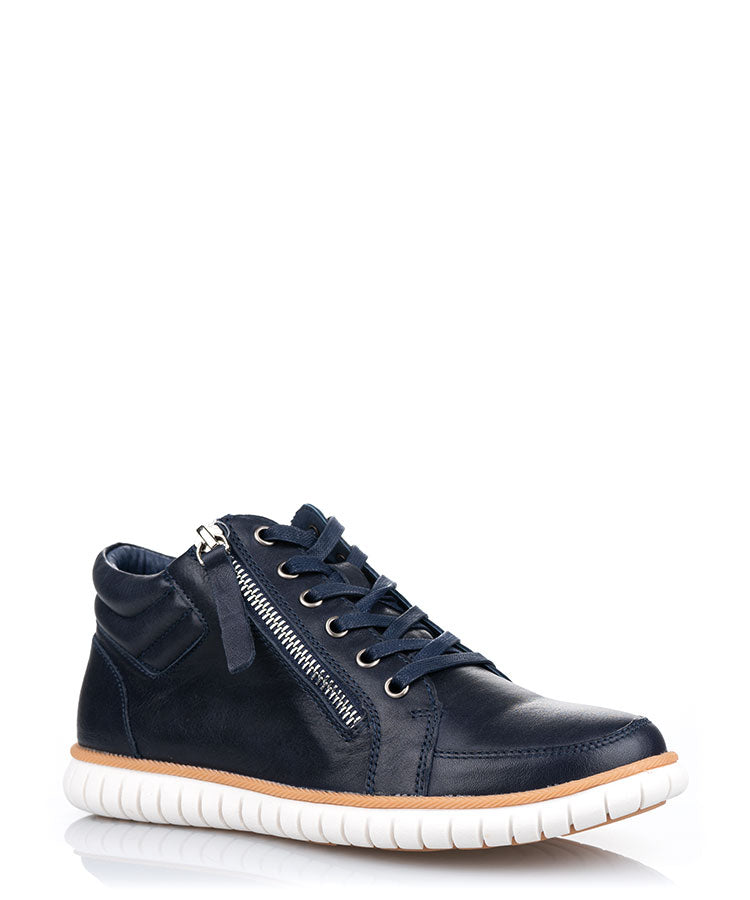 Issa Navy Leather Casual Le Sansa