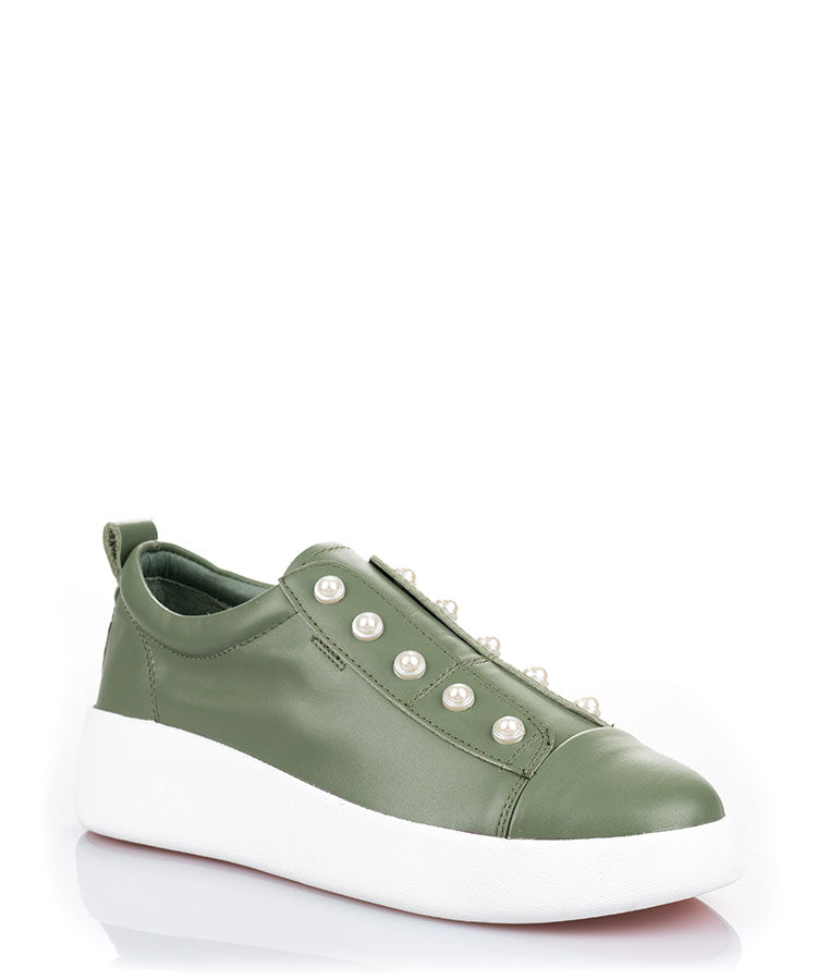 Bay Peal Olive Green Leather Sneaker