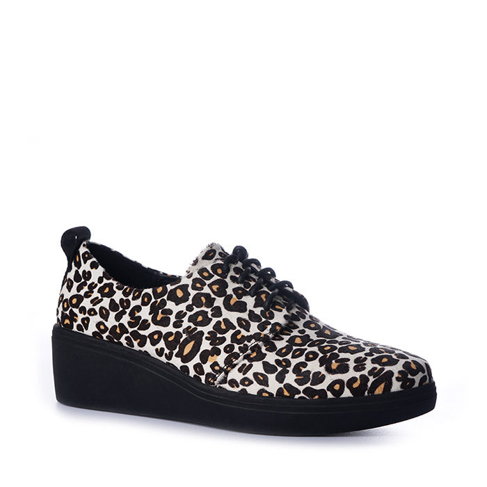 Devon Black White Leopard Pony Leather Casual Minx