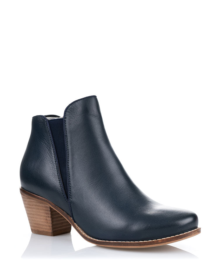 Pam Navy Leather Ankle Boot