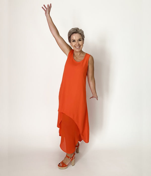 C.REED Tangerine Half Moon Layer Dress front