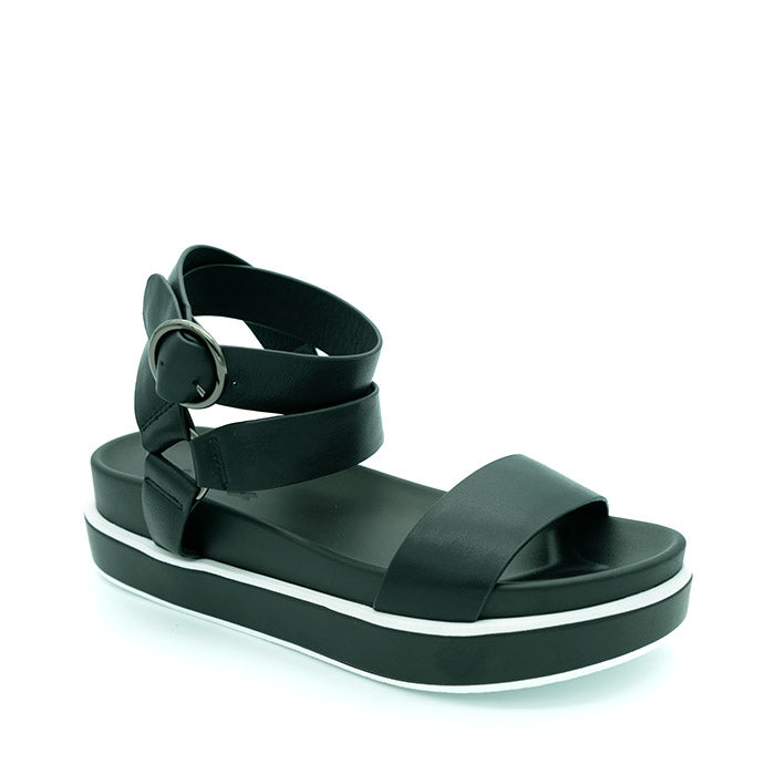 Trig Black Leather Summer Sandal