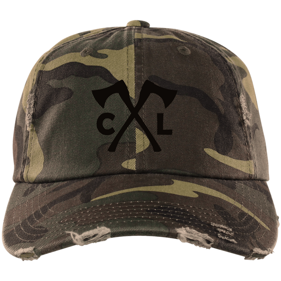 Chopped Life - CL Axes, Distressed Dad Cap, Camo/Black