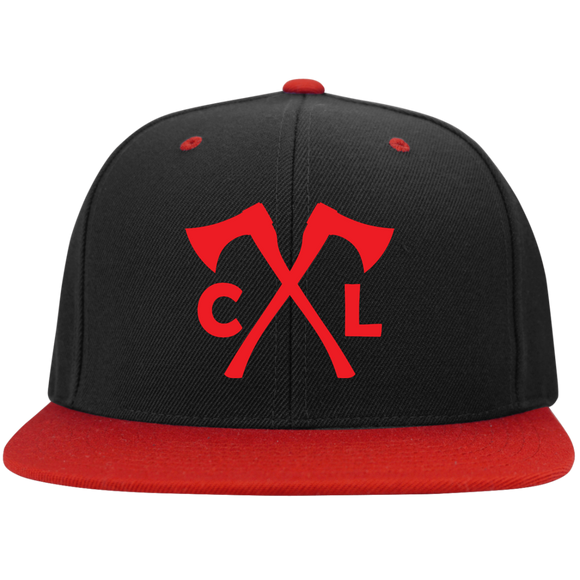 Chopped Life - CL Axes, Flat Bill Snapback Hat, BlackRed/Red