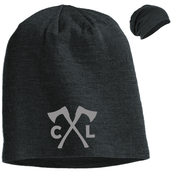 Chopped Life - CL Axes, Slouch Beanie, Gray Stitch