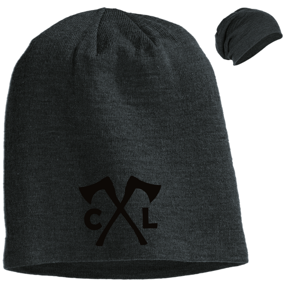 Chopped Life - CL Axes, Slouch Beanie, Black Stitch