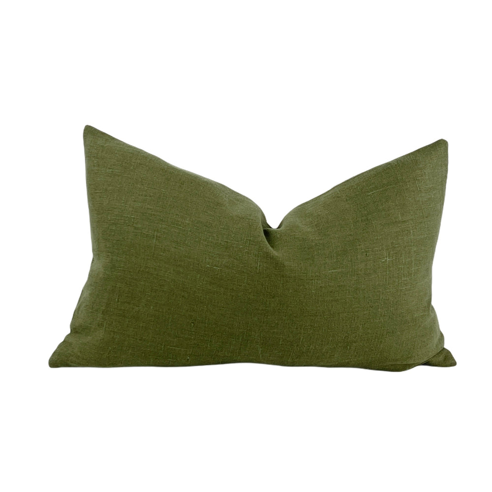 Moss and Oatmeal Linen 14 X 20 Pillow