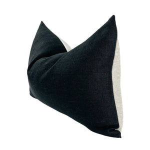 Load image into Gallery viewer, Black and Oatmeal Linen 14 X 20 Pillow