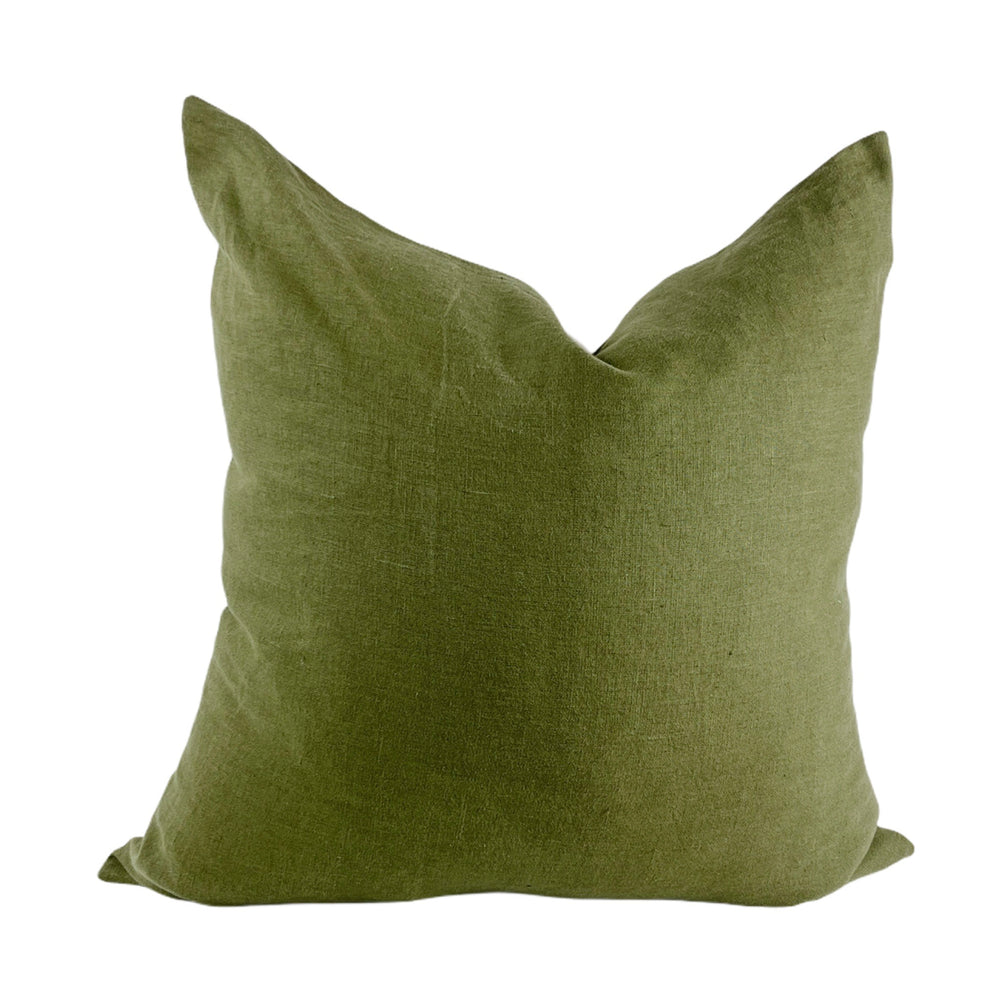 Moss and Oatmeal Linen Euro Pillow