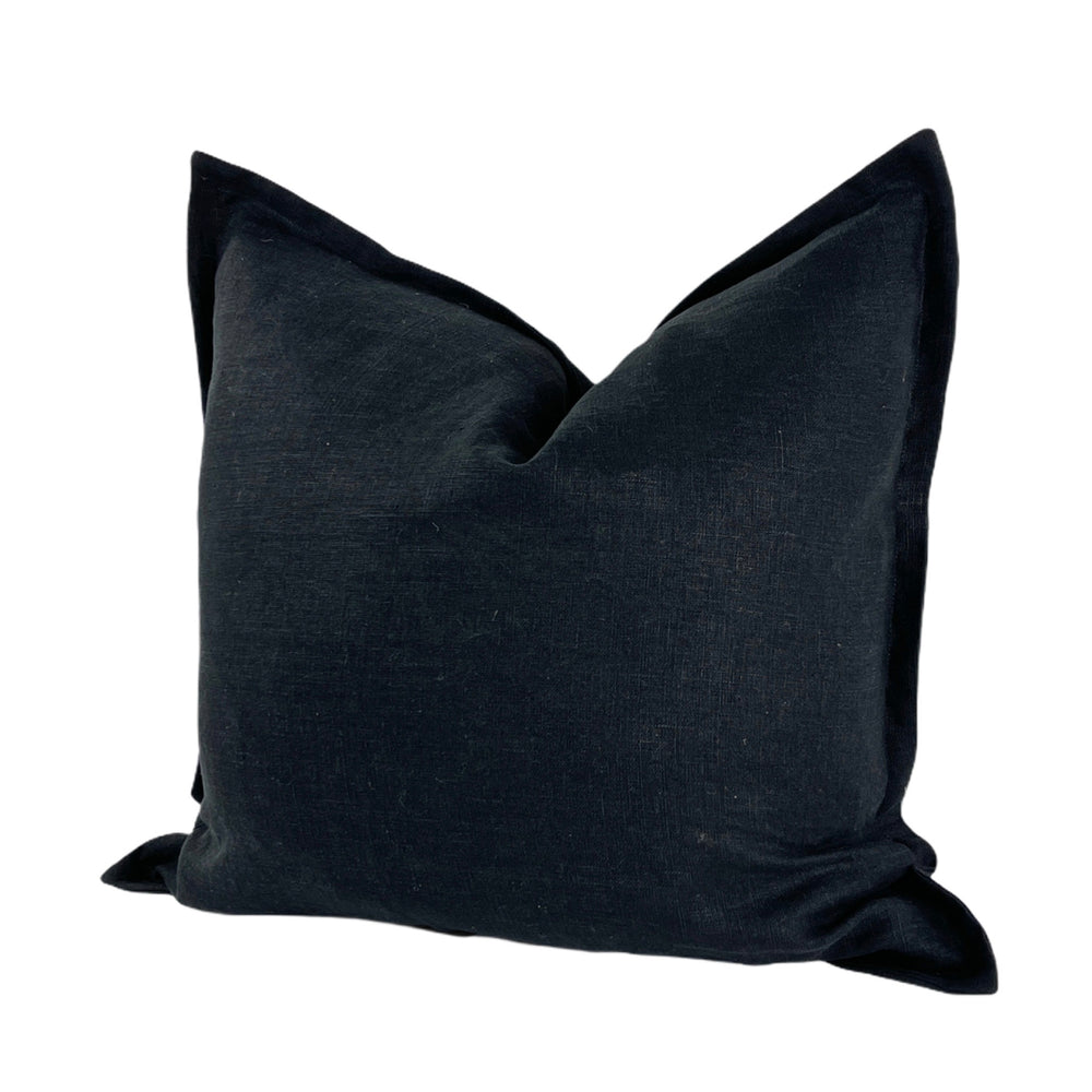 Black Flange Linen Euro Pillow