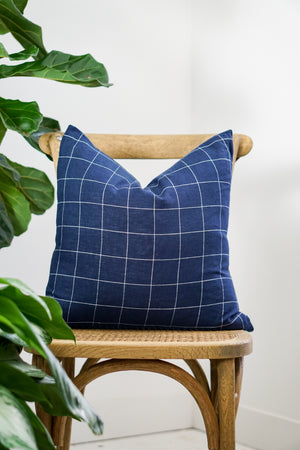 Load image into Gallery viewer, Navy windowpane 16 x 24 Pillow
