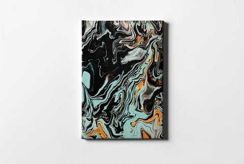 Black Teal and Brown Abstract Painting