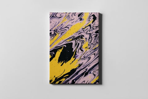 Yellow Black and Purple Abstract Painting
