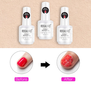 ROSALIND Nail Gel Polish Magic Remover For Manicure Fast Clean Within 2-3 MINS UV Gel Nail Polish Remove Base Top Coat