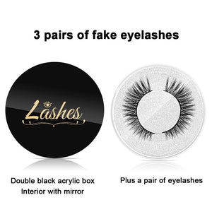 False Eyelashes and Eyeliner Kit- No Glue Non Magnetic, 3 Pairs Waterproof Reusable Eyelashes with Sticky Liquid Eyeliner Mascara