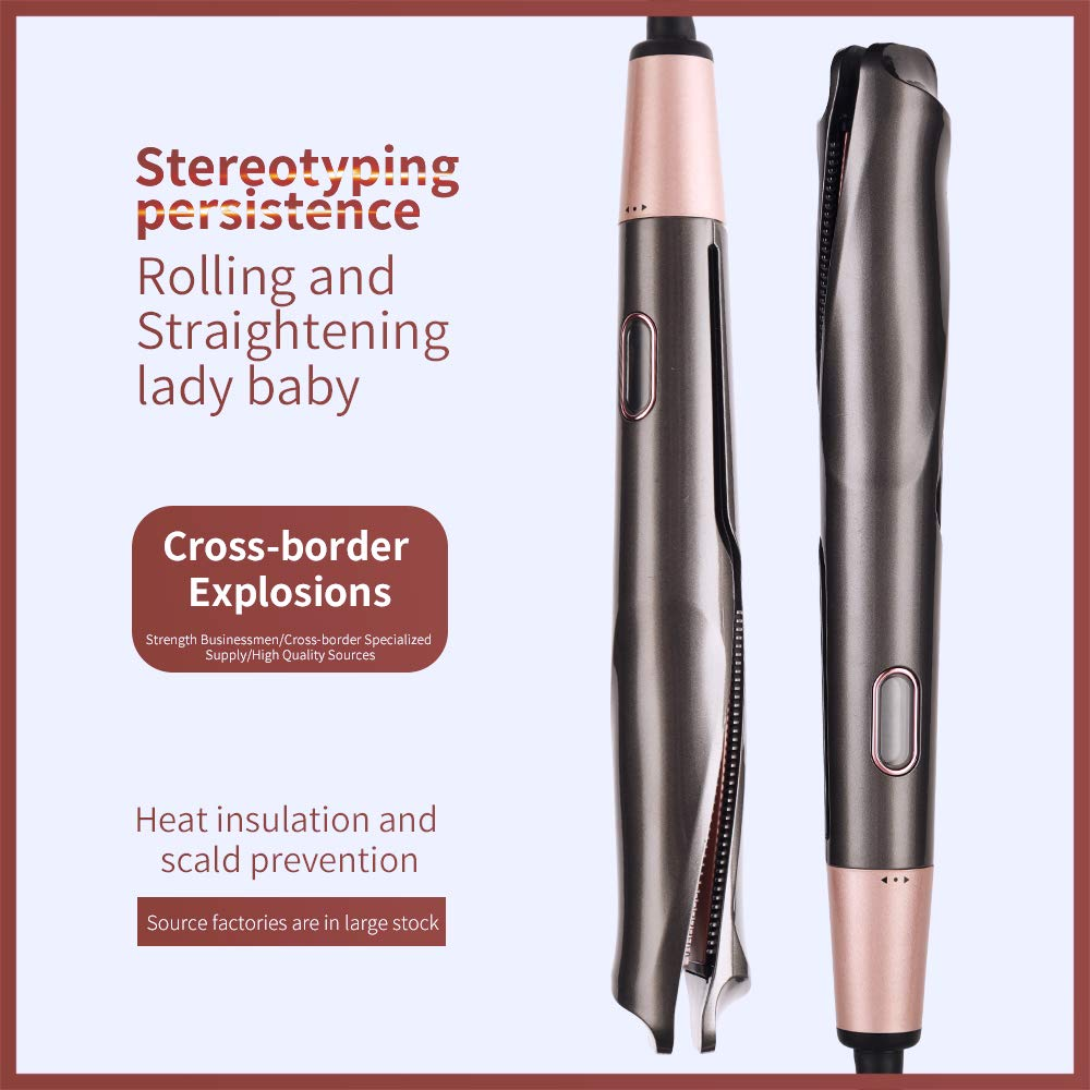 Professional Hair Straightener Curling Iron 2 in 1,Tourmaline Ceramic Twisted Flat Iron Beauty Hair Tools,Adjustable Temp, LCD Digital Display&Auto Shut-Off