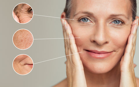 CBD oil helping face rejuvenation, image showing where exactly it helps.